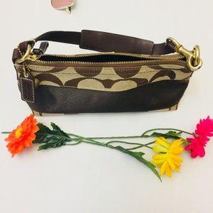 COACH Signature Stripe Khaki/Brown Handbag